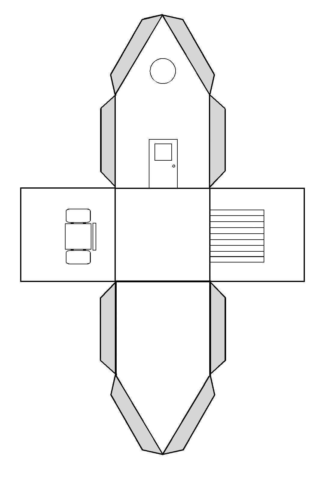 faire une maison en volume par pliage et collage patron modele pinterest pliage collage. Black Bedroom Furniture Sets. Home Design Ideas