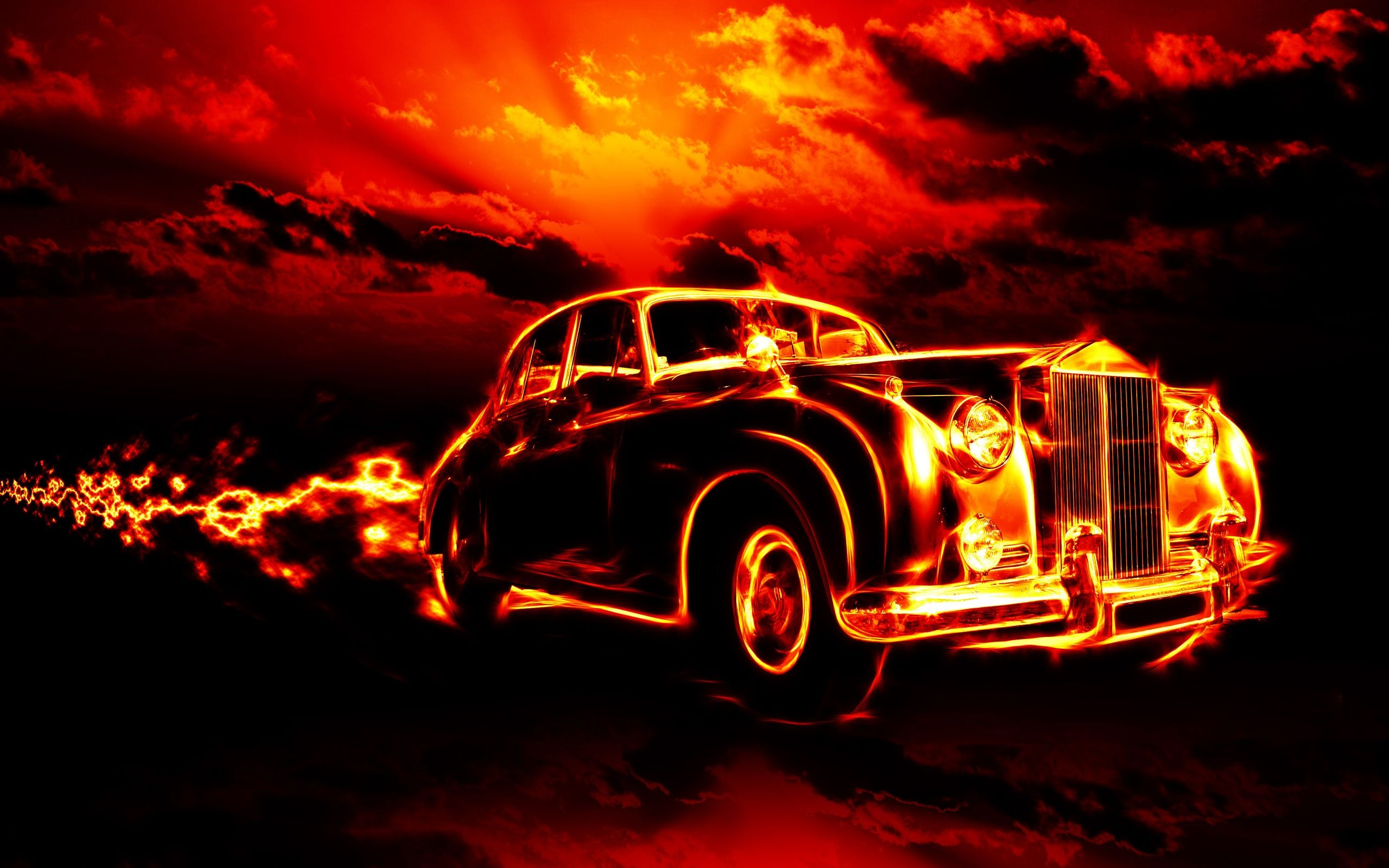 Fire car creative Wallpaper | 2560x1600 resolution wallpaper