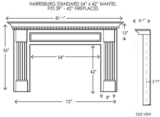 Harrisburg Standard Size Mantel | Wood fireplace, Fireplace mantel ...