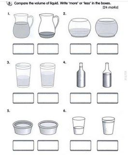 capacity worksheets for kindergarten worksheets | Volume Of Liquid ...