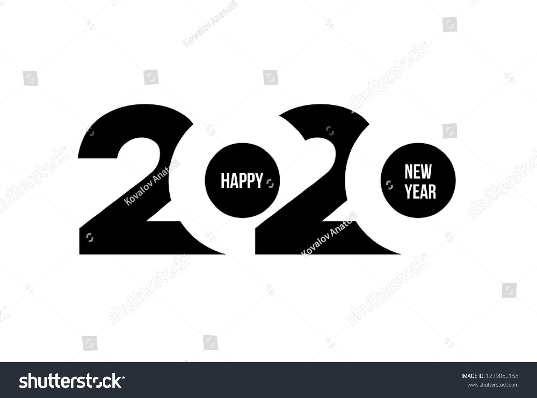 Happy New Year 2020 Logo Text Stock Vector Royalty Free