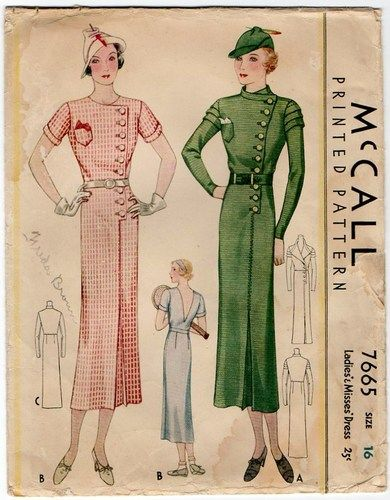 Vintage 1930s Deco Dress Pattern Asymmetrical Button Front Deep V ...