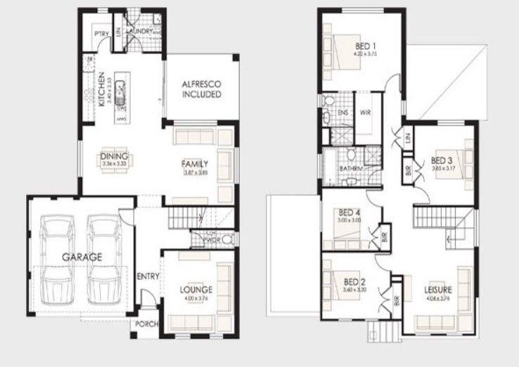 Planos de casas de dos pisos Planos de casa de dos pisos, Casa de