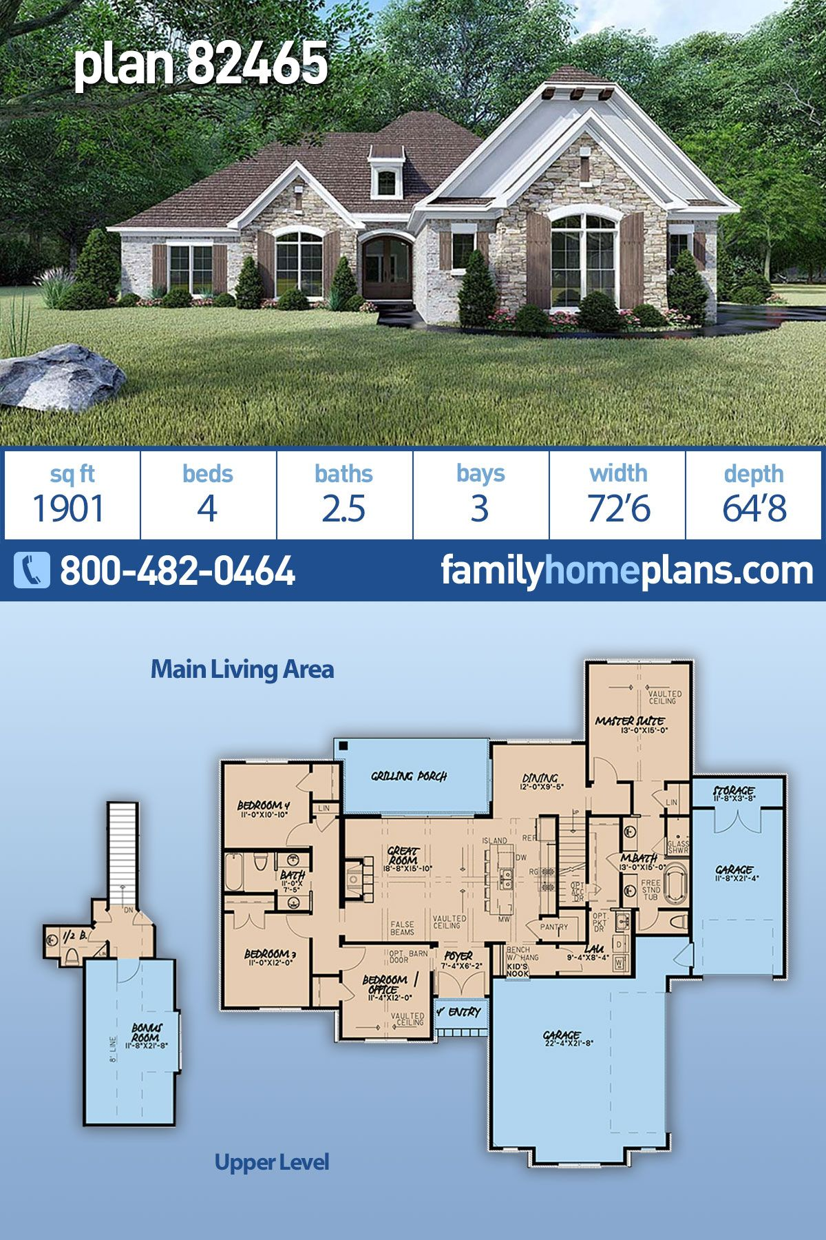 Photo of Traditional Style House Plan 82465 with 4 Bed , 3 Bath , 3 Car Garage
