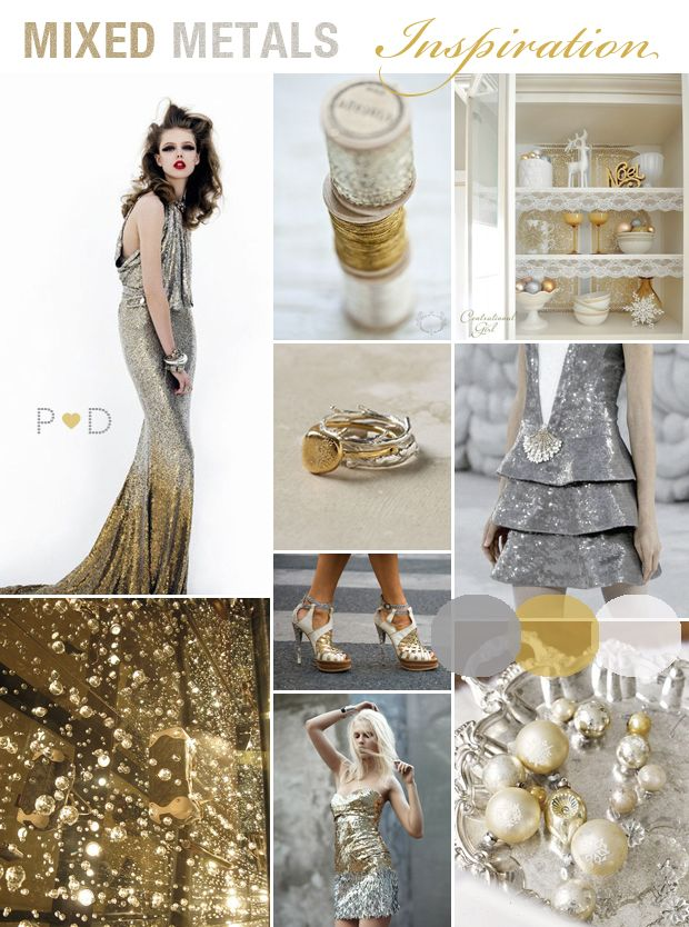 bridal inspiration mixed metals gold and silver styling on http