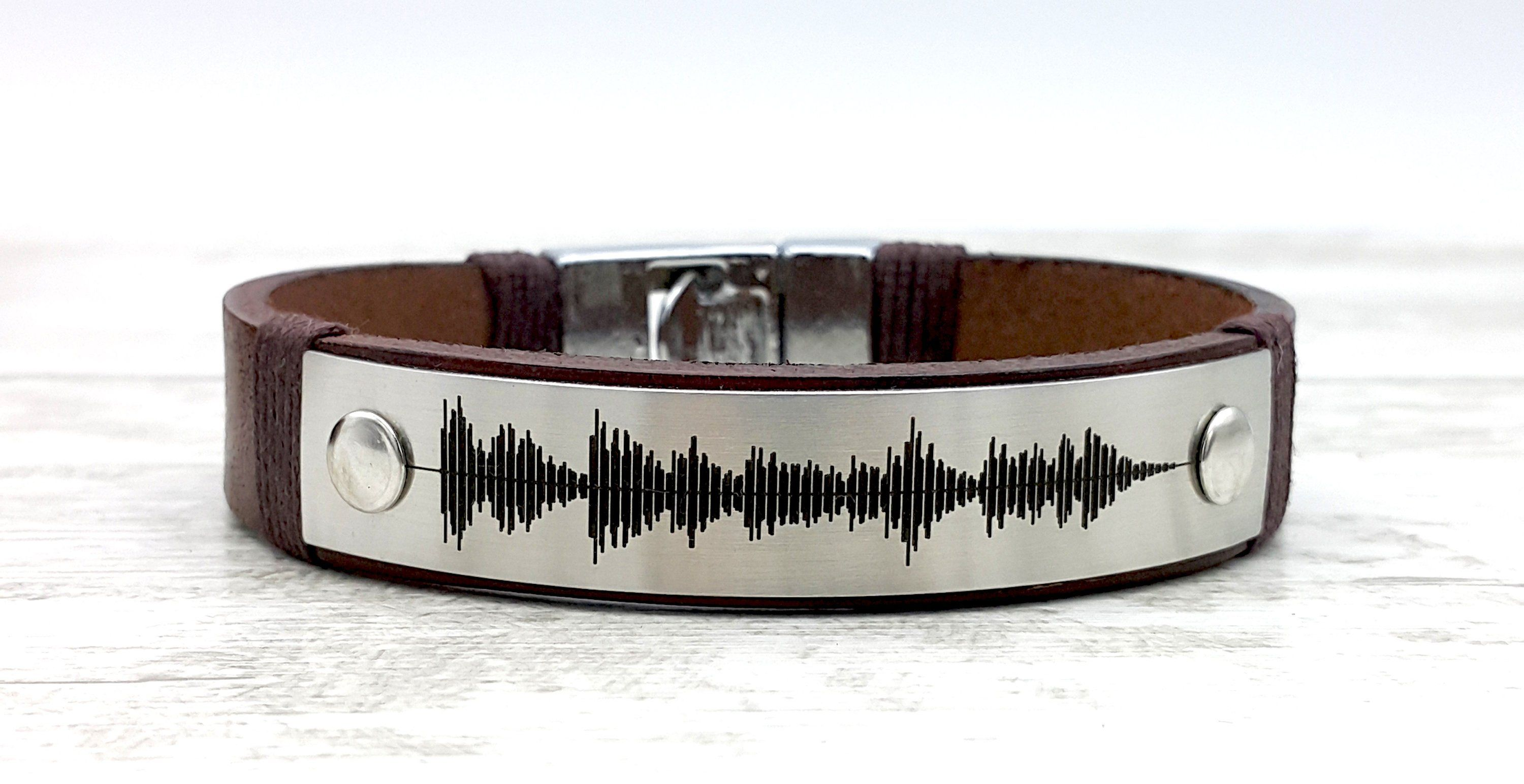 Personalized Wedding Anniversary Gifts for Him 3rd Anniversary Gift for Mens Custom Engraved Real Leather Bracelet Soundwave Bracelet
