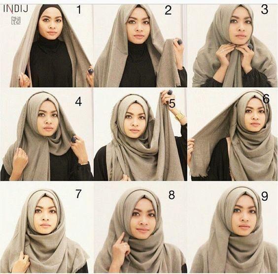 Tutorial Hijab Segi Empat Wajah Bulat Untuk Pesta Gaya Hijab Gaya Abaya Model Pakaian Hijab
