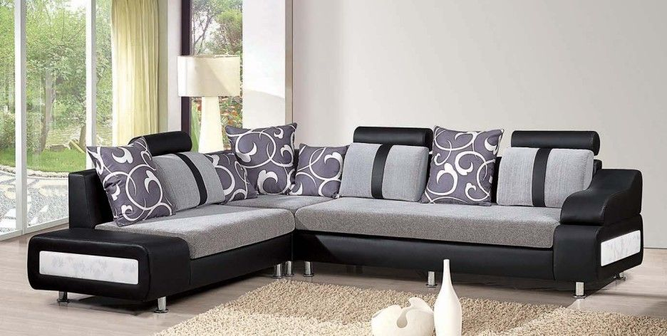 Contemporary Black Sectional Sofa With Grey Fabric Sofa Cushions And  Decorative Throw Pillows