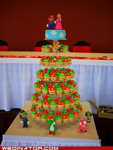 Mario cake and 1Up cupcakes...this is a wedding, but I think it's perfect for a birthday party (smaller cake stand) or just the simple Mario and Princess on a cloud cake for a birthday would do, too.