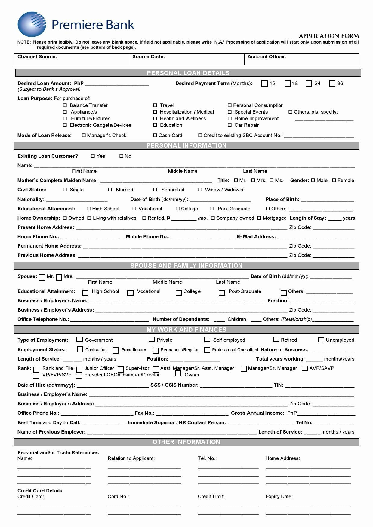 Personal Loan Application Form Template Inspirational 28 Of Bank Loan Request Forms Template In 2020 Personal Loans Loan Application Application Form
