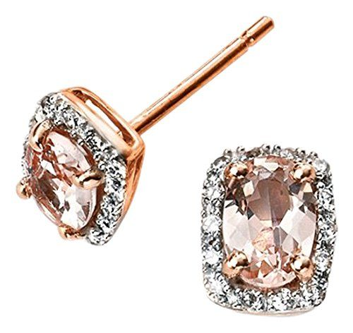 792843a69 Elements Gold 9ct Rose Gold Diamond and Morganite Earrings. UK earrings.  Women earrings.