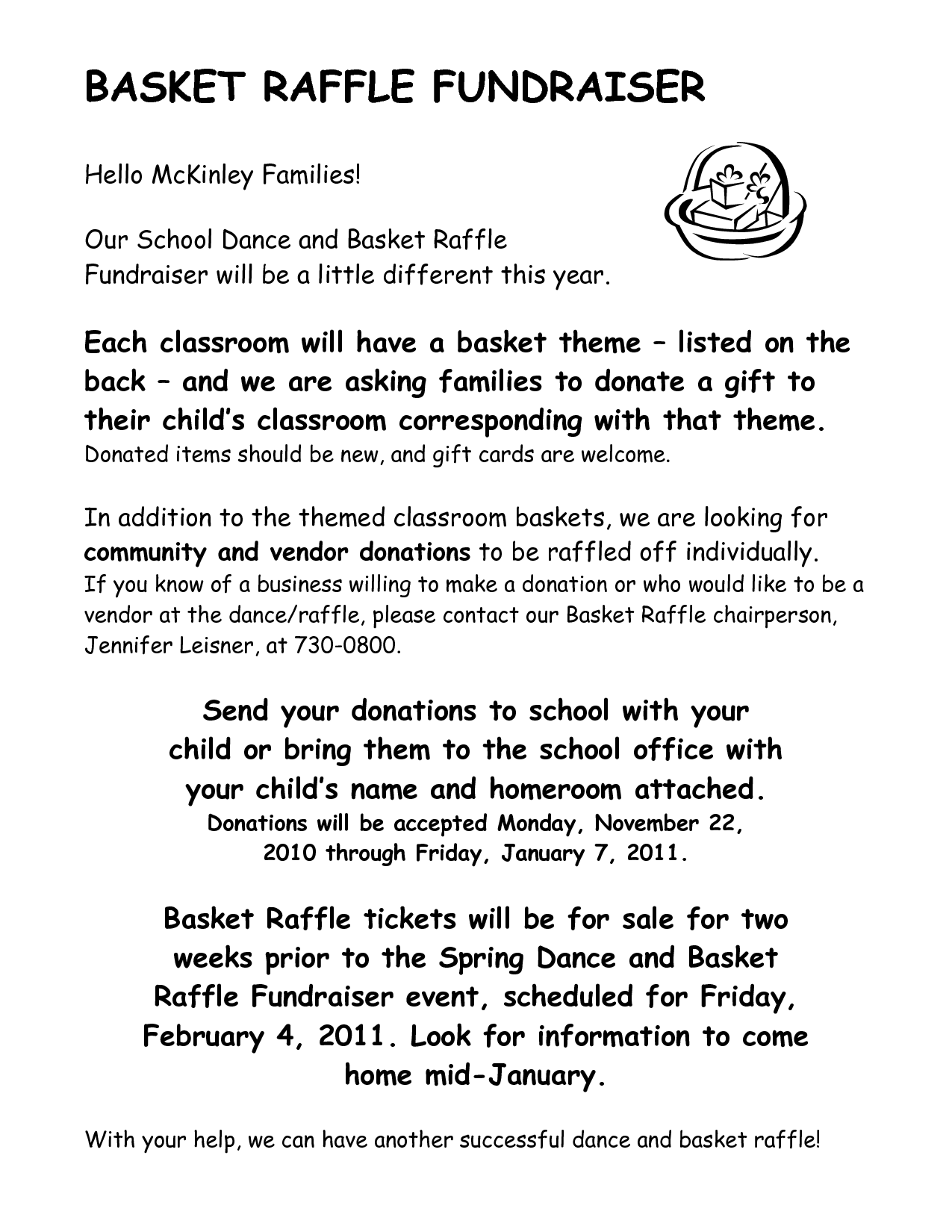 scope of work template | Parent's Club | Raffle baskets