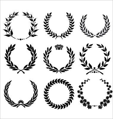 Set laurel wreath vector fonts and graphics for Laurel leaf crown template