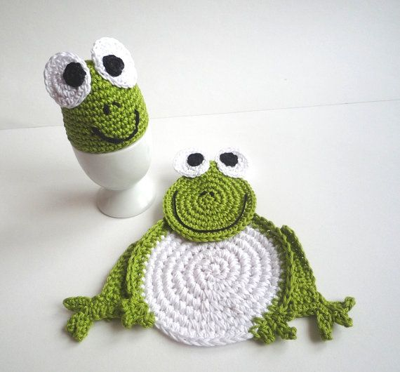 Frog Coaster   Frog Egg Cozy   Crochet Coaster   Crochet Frog   Frog  Kitchen Decor   Crochet Frog Set   Egg Warmer   Country Kitchen Decor