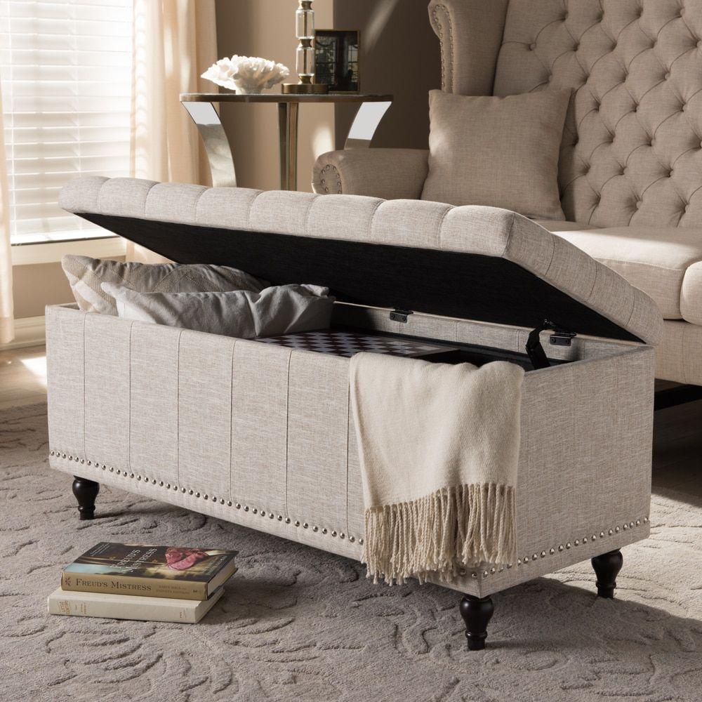 Baxton studio alexio modern classic beige fabric upholstered button