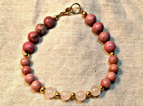 Genuine Rhodonite Beaded Bracelet Rose Quartz Pink by IemanjaShea