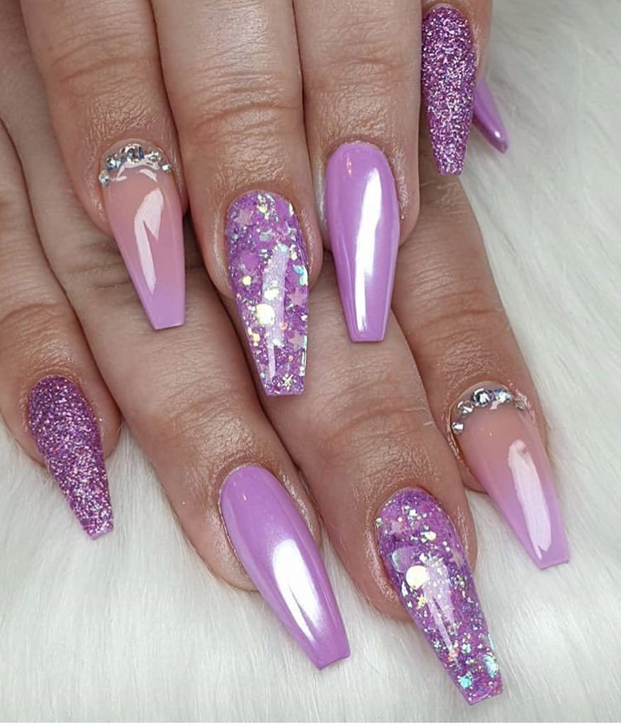 Nailsbyemmak Lavender Nails Purple Acrylic Nails Ombre Nails Glitter