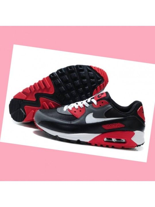 newest collection f880d cf5e3 Nike Air Max 90-2 Noir  Gris  rouge avec du blanc Logo Hommes Mm34F