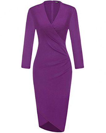 OUGES Womens 34 Sleeves Ruched Sheath Faux Wrap Dress