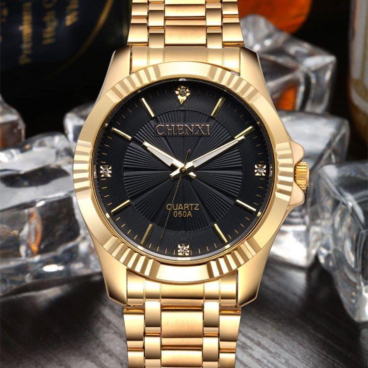 1994f0efde4 NATATE CHENXI Relógio de Ouro Da Moda Homens Relógio de ouro Cheio de Aço  Inoxidável Relógios de Quartzo Relógio de Pulso Por Atacado Relógio De Ouro  Dos ...
