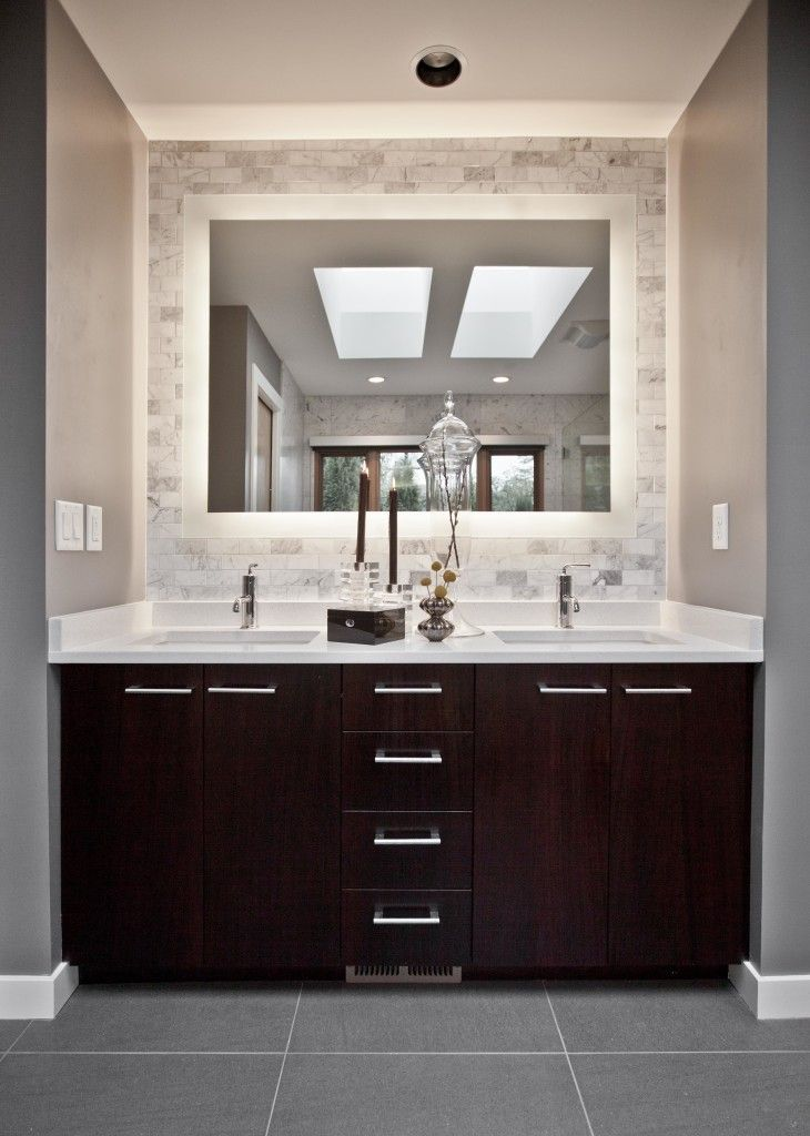 Pics Of interior black wooden vanity with drawers plus double white sink placed on the gray floor and Modern Master BathroomModern
