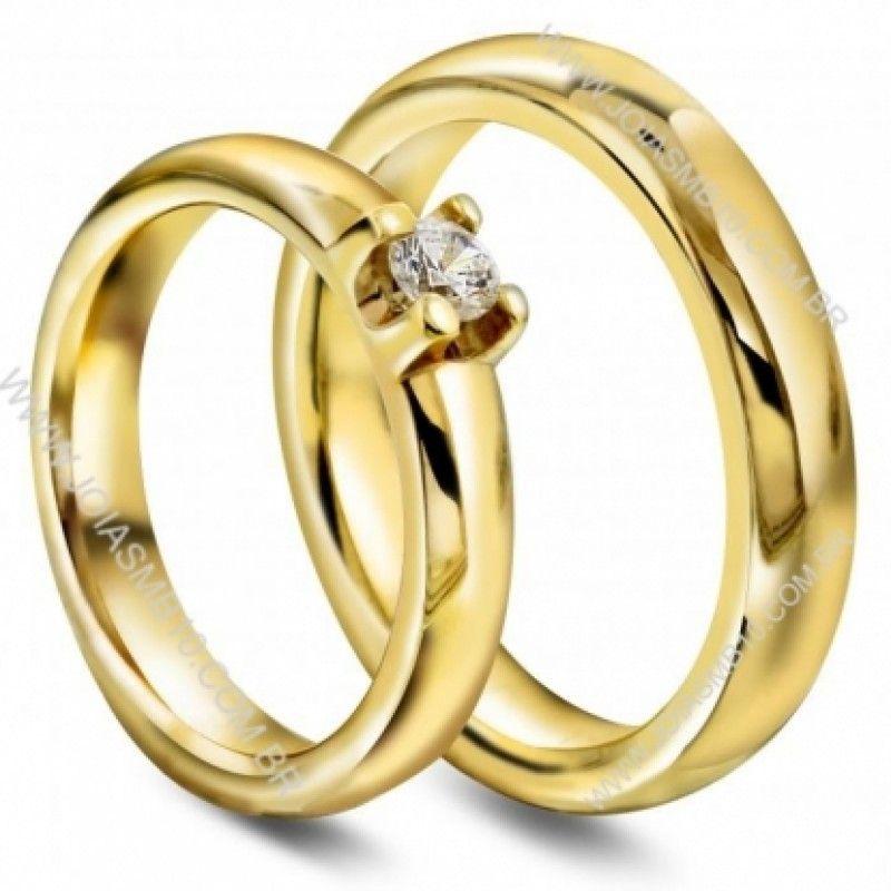 Detalhes do Produto  Par de alianças de casamento, ouro e noivado em ouro  amarelo c83c5427af