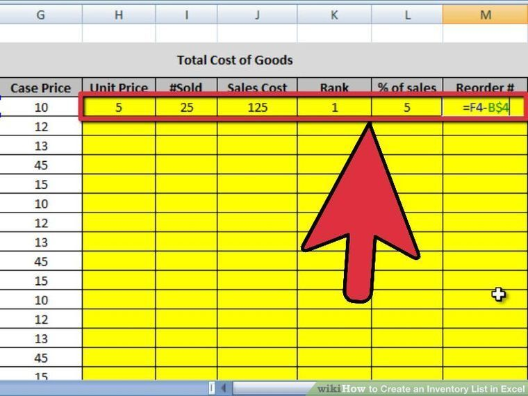 How To Create An Inventory List In Excel With Pictures Excel Care Package Decorating Cost Of Goods