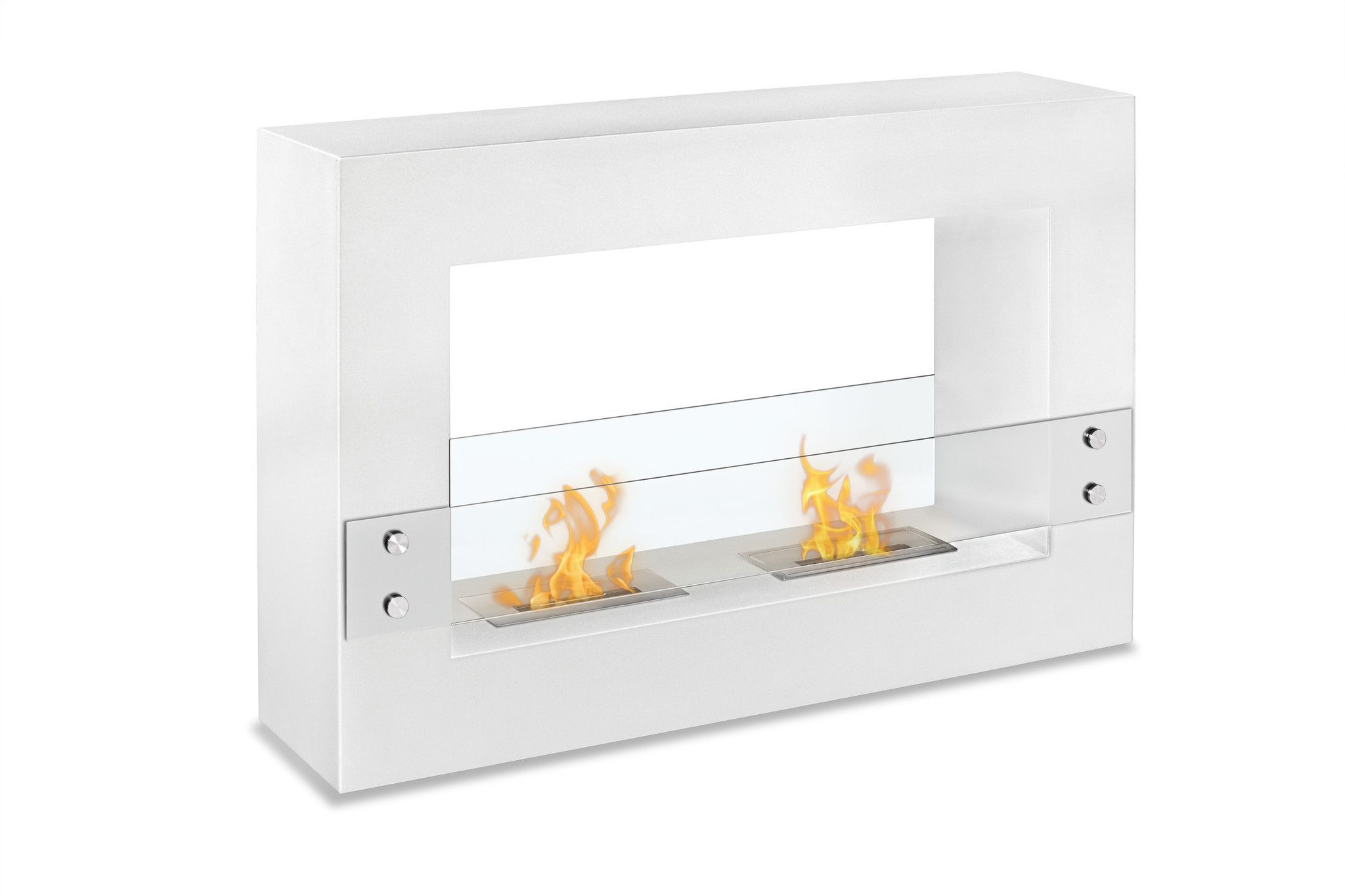 "Ignis Tectum White 47"" Free Standing Ethanol Fireplace"