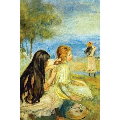 """Buyenlarge 'Girls By the Seaside' by Pierre-August Renoir Painting Print Size: 66"""" H x 44"""" W"""