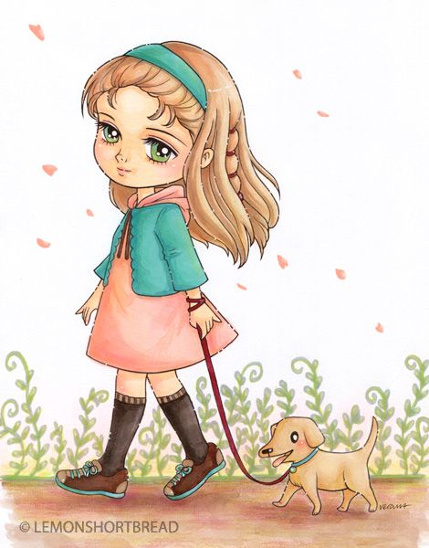 Walking The Dog Digi Stamp Coloured With Markers Pastels And Pencils