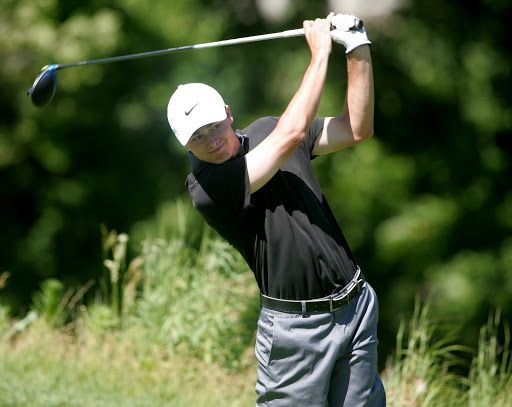 Sam Foust on the 1st tee during the 2nd round of the 25th Twin Cities Men's Championship at Keller GC on Sunday, June 26th. Foust finished in 2nd place with a 2 round score of 144, even par, 1 stroke behind winner Trent Peterson. Photo by Mark Brettingen/Courtesy MGA