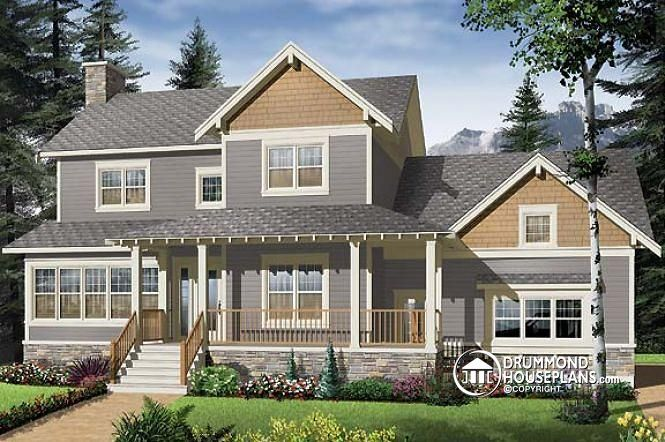 W2853a v1 craftsman house plan 3 to 4 bedrooms home for House plans with garage on side
