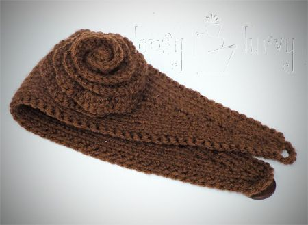 Yarn Knit Ear Warmer Headband Flower Crochet Ear Warmer Headband