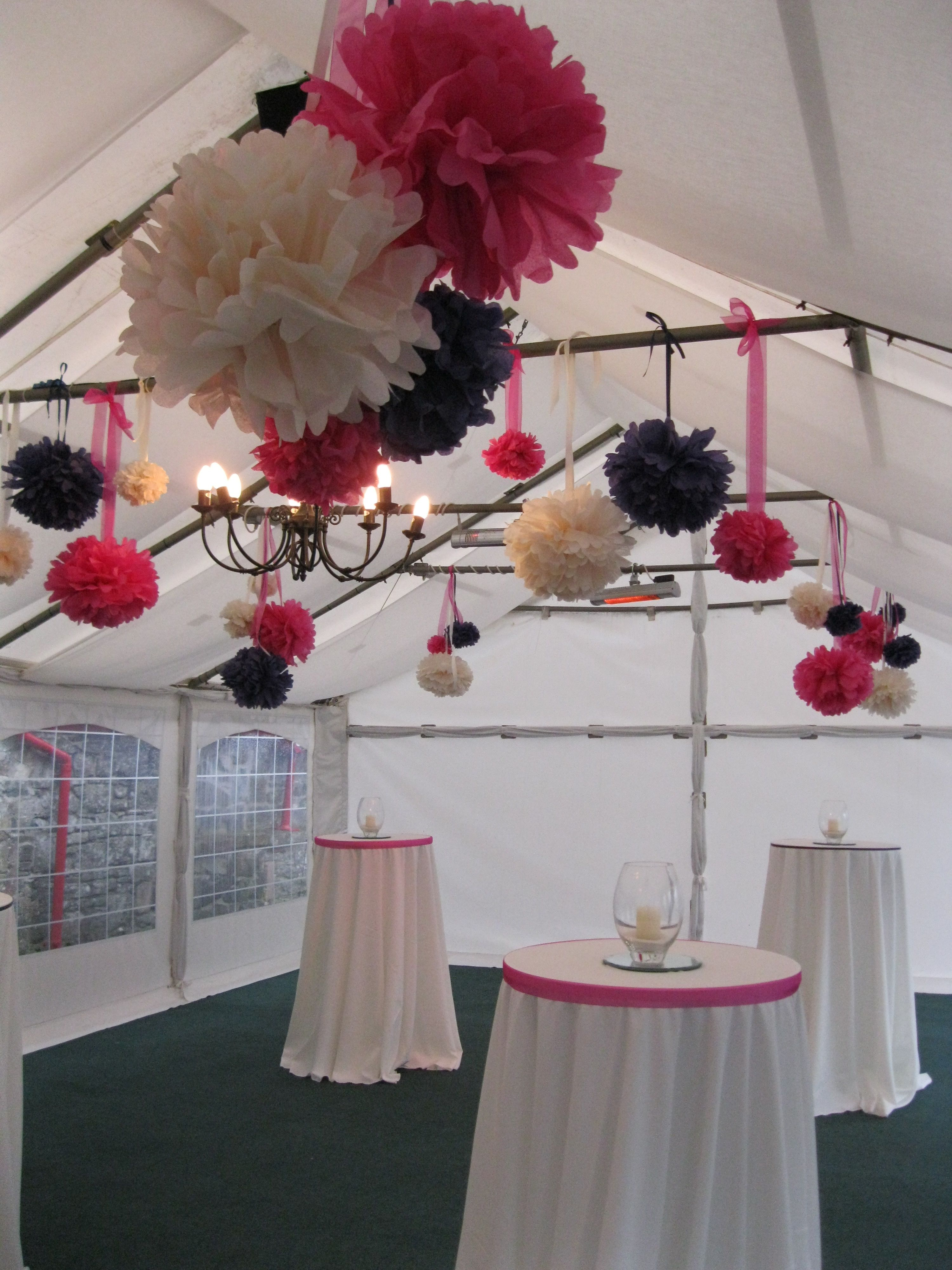 pom pom installation with co-ordinating poseur tables and linens @Larchfield Estate estate. www.moodevents.co.uk