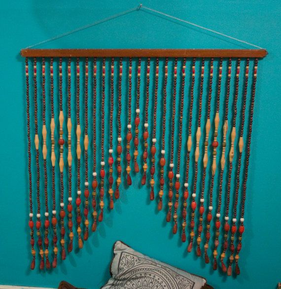 Love This Vintage Big Wooden Beads Beaded Curtains Beaded