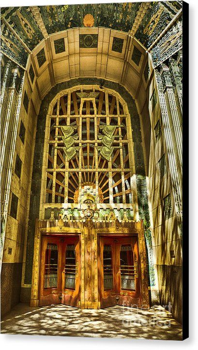 Art deco marine building canvas print canvas art by theresa tahara