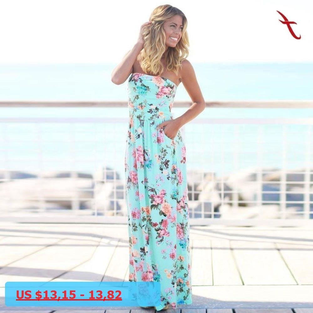 Womens bandeau holiday long dress ladies summer floral maxi dress