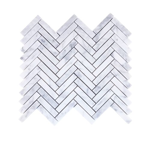Neptune Kennet Carrara Marble Herringbone Tiles Wall Coverings