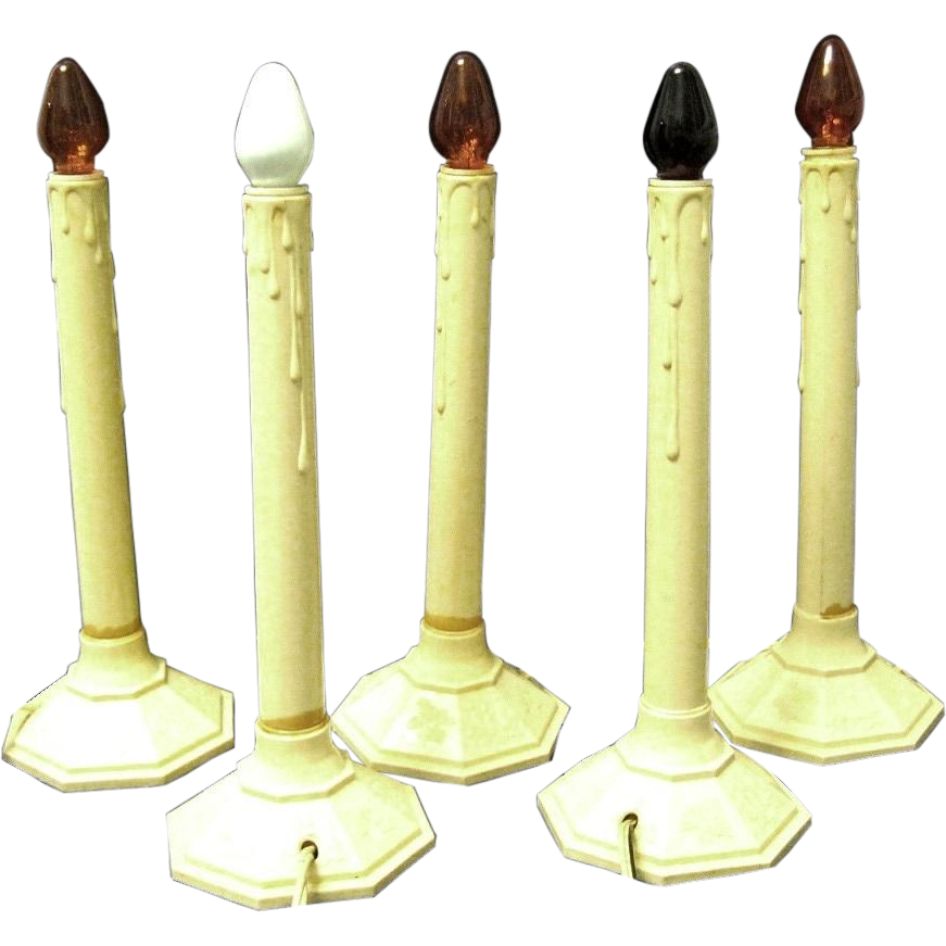 shown are a set of five working electric christmas candle lights from the 1940s each