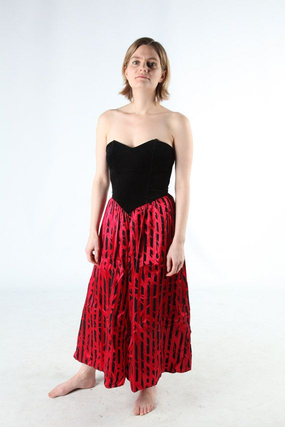 80s prom dress with black vevet body and hot pink scarlet red skirt ...