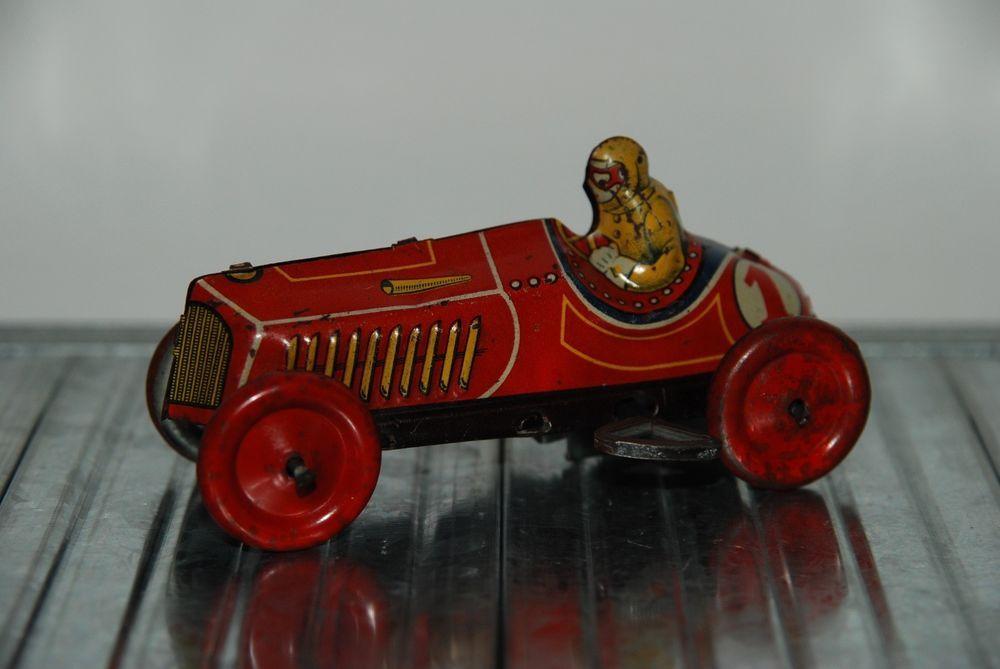 Rare Foreign Japan Tin Wind Up Racing Car 1 1930 Tinplate Japanese Racer Race Cars Car Racing
