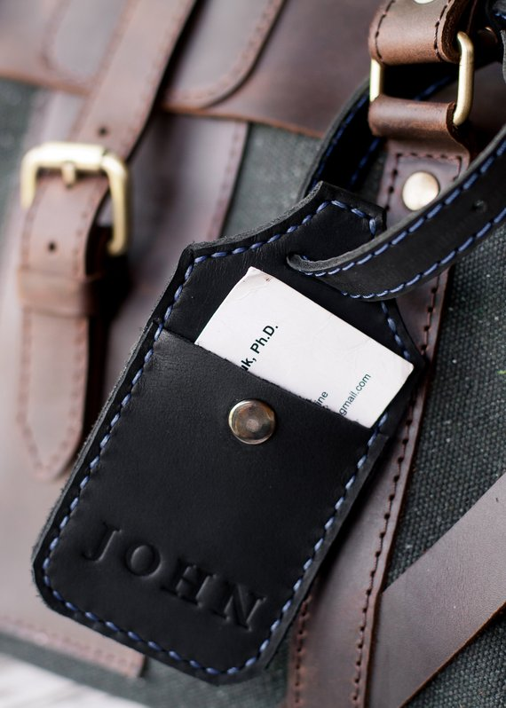 7c98fb7cb5ce Personalized leather luggage tag Travel Bag Luggage Tag Gift for Men ...