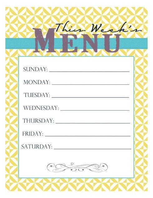 20 Free Menu Planner Printables Weekly menu printable, Menu and
