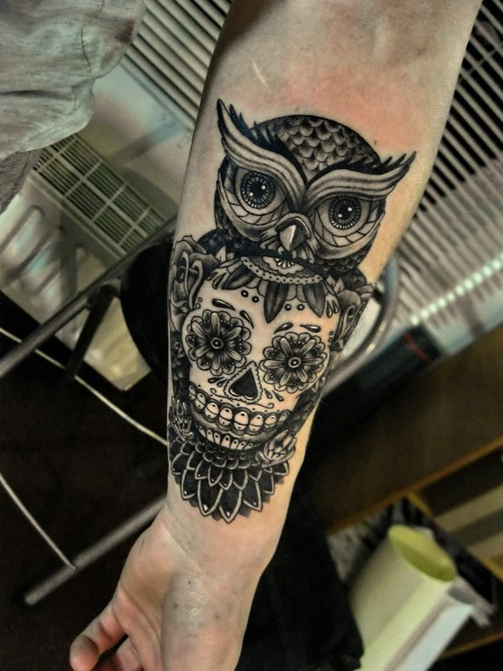 Owl and sugar skull tattoo bing images tattoos pinterest sugar skull tattoos sugar - Sugar skull images pinterest ...