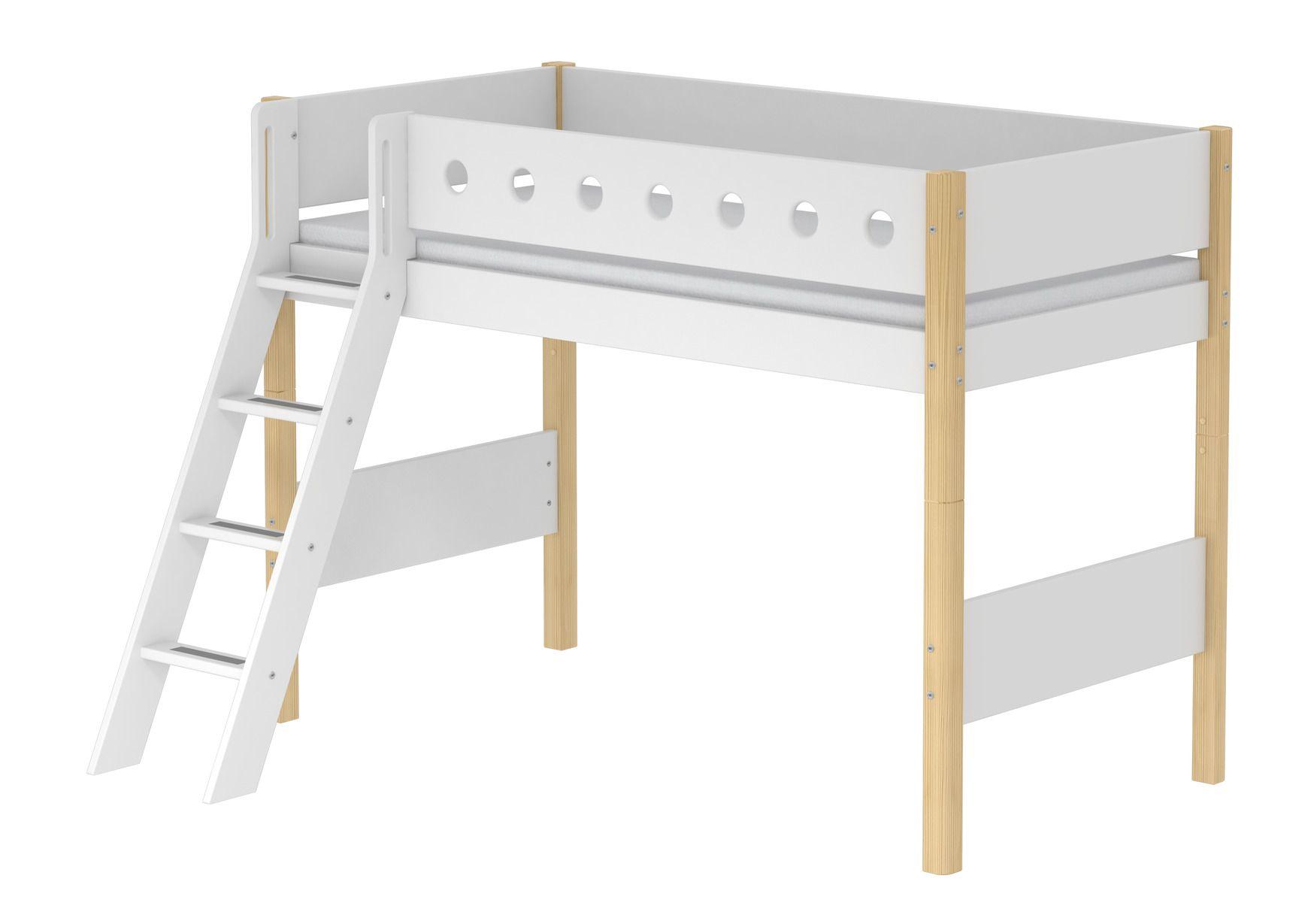 Flexa Verhogingsset Halfhoogslaper.White Verhoogde Half Hoogslaper Met Schuine Ladder Wit Berken