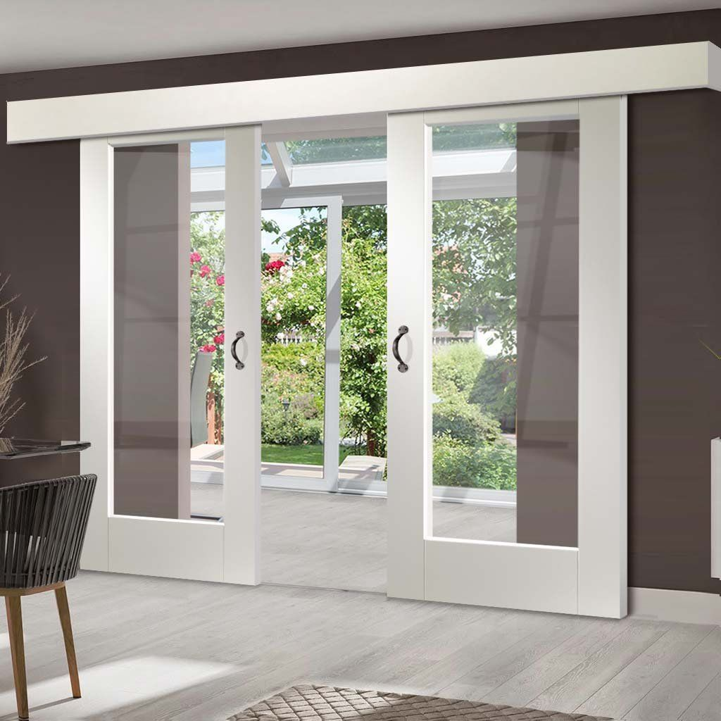 Double Sliding Door Wall Track Pattern 10 1 Pane Doors Clear Glass White Primed In 2020 Double Sliding Doors Sliding Doors Exterior Sliding French Doors