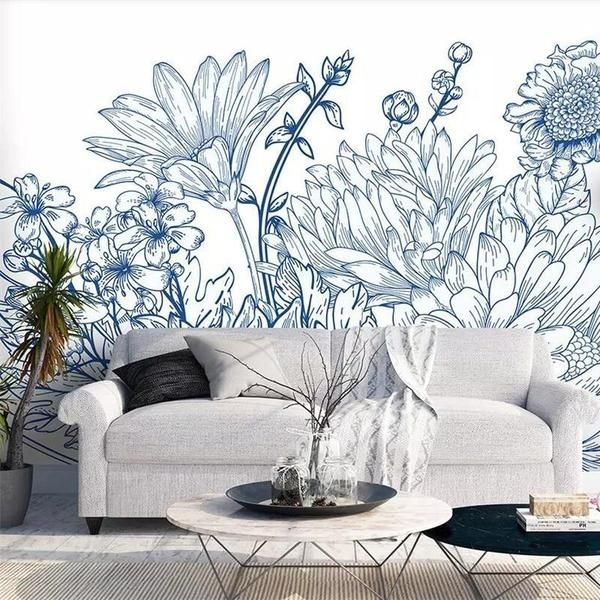 Custom Size Grey Floral Wallpaper Mural (㎡)