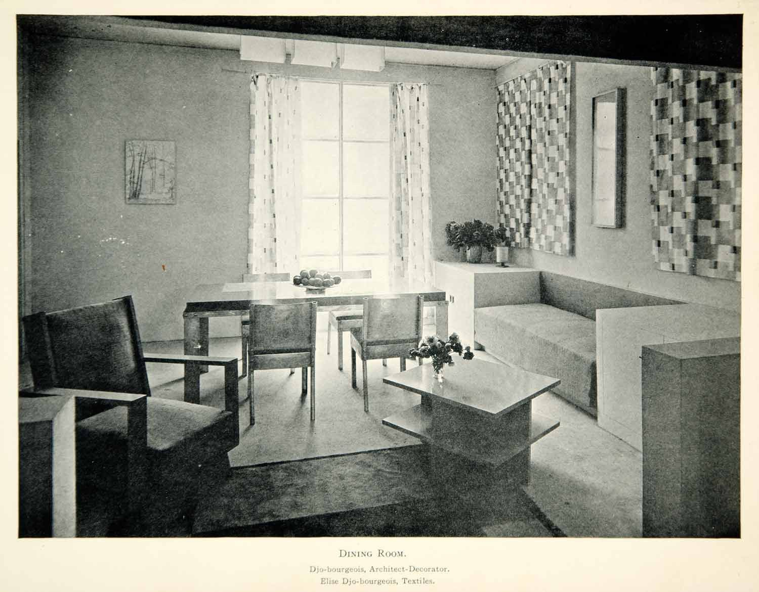 1930 Print Art Deco Georges Djo Bourgeois Dining Room French Interior XDK3
