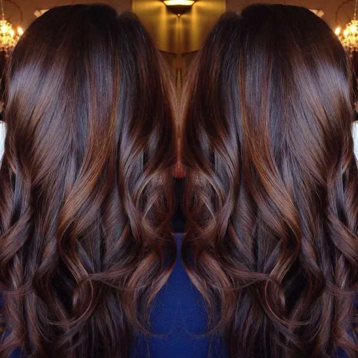 Long Curled Chocolate Brown Hair With Cinnamon Highlights So