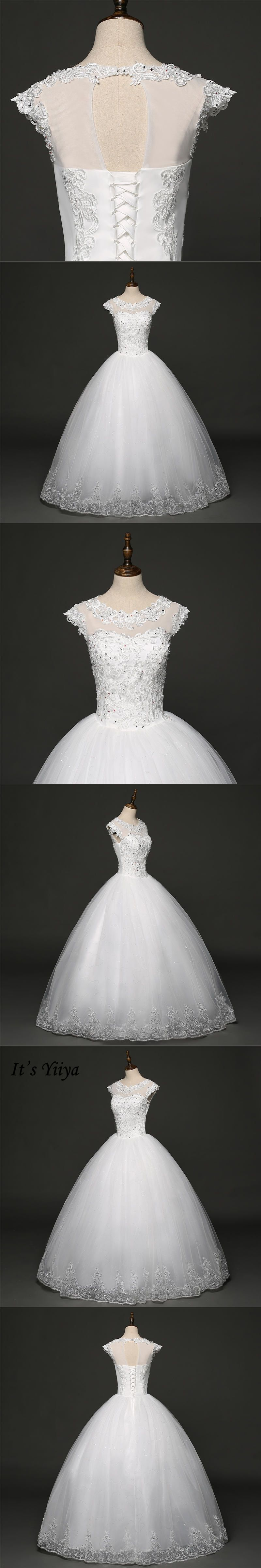 Itus yiiya off white short sleeve oneck sales wedding gowns bling